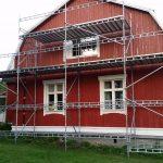 Fasadrenovering hösten 2015. Ställningens storlek: 12m x 4-6m