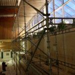 Saneeraus uimahallissa. Telineen koko: 21m x 5m